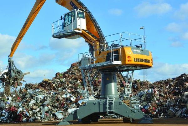 crane lifting scrap