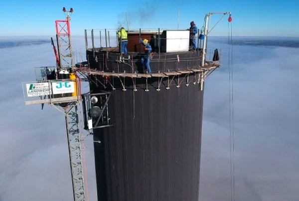 Rimeco taking down 184 meter high chimney in Aabenraa